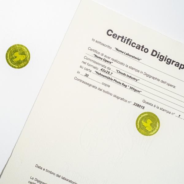 certificato stampa fine art